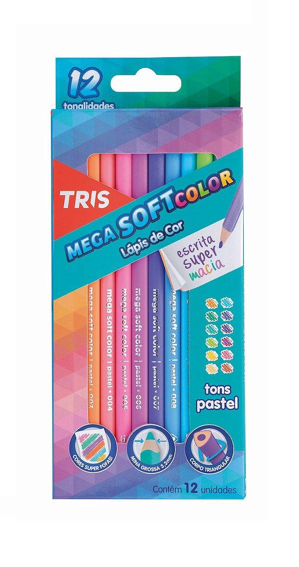 Lápis de Cor Mega Soft Tris 12 Cores Tons Pastéis