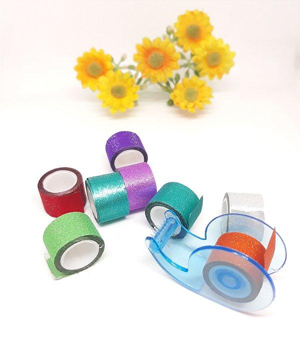 Fita Adesiva Glitter - WashiTape 12x2 c/8 unidades e Dispenser
