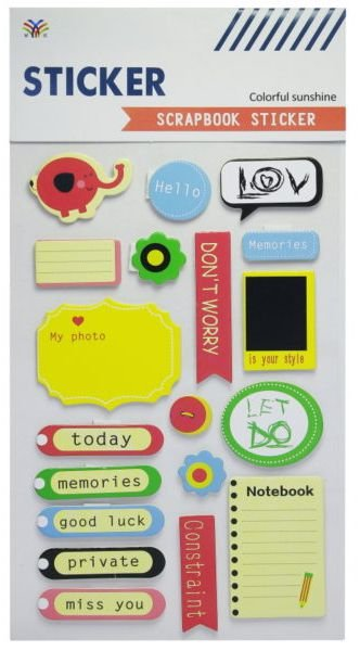 Sticker Scrapbook 3D - Colorful Sunshine Notes