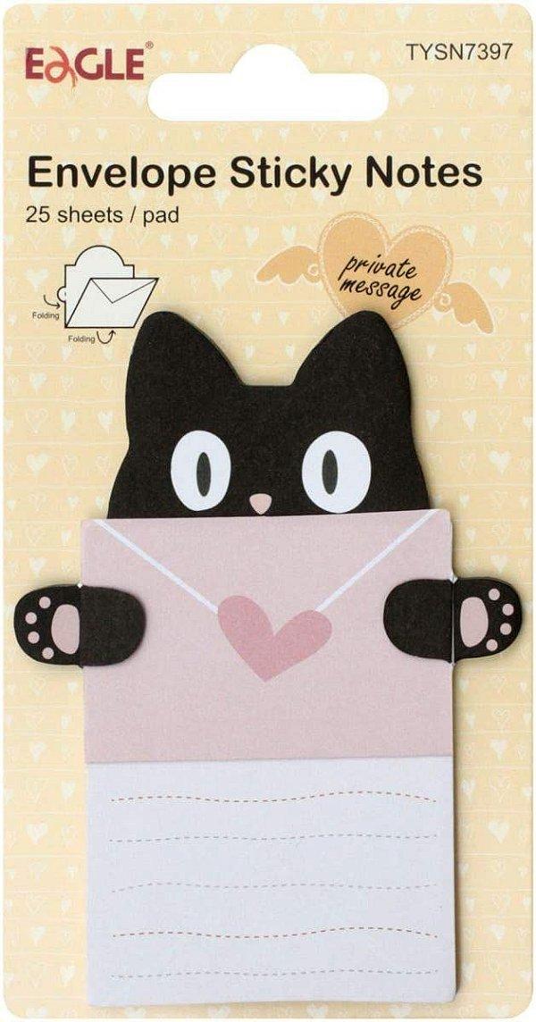 Sticky Notes Modelo Envelope Gato Preto Eagle