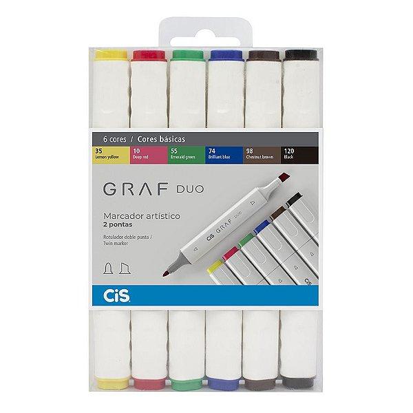 Marcador Artístico Cis Graf Duo Cores Básicas c/6 unid