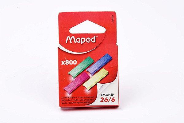 Grampos Coloridos 26/6 Maped com 800 Unidades