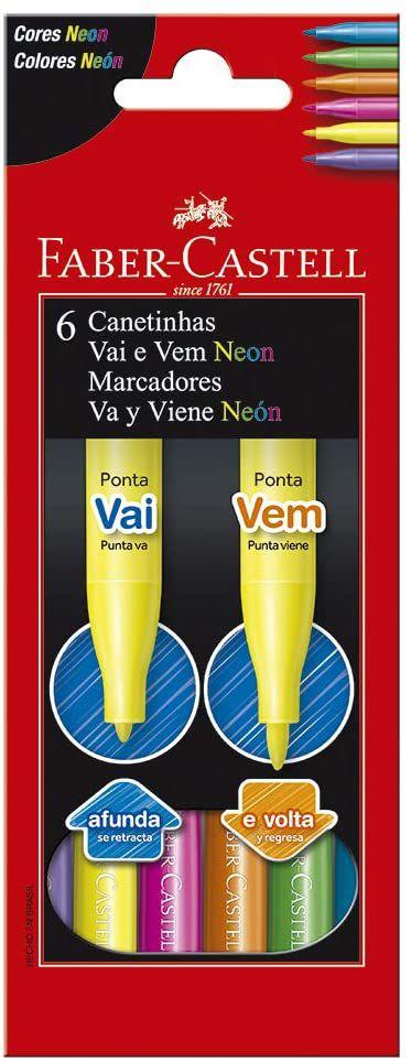 Canetinha Vai e Vem 6 Cores Neon Faber Castell