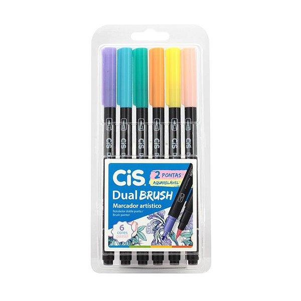 Caneta Cis Dual Brush Aquarelável 6 cores Pastel