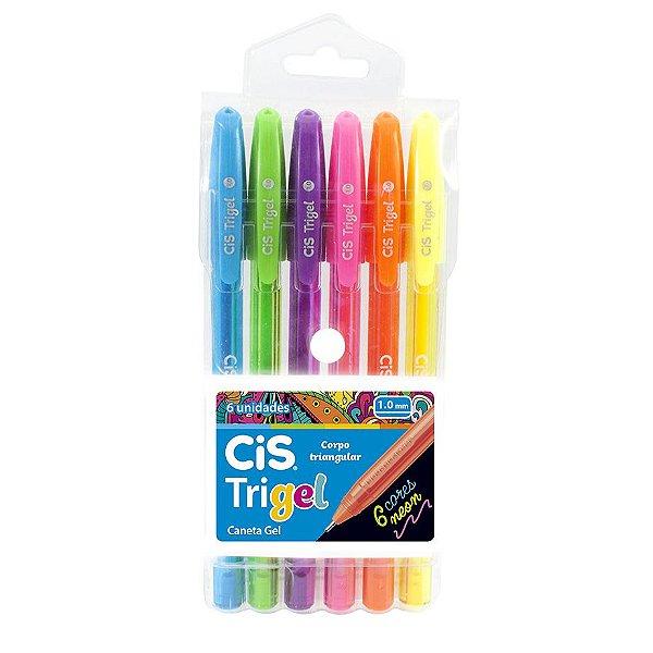 Caneta Cis Trigel Estojo com 6 cores Neon