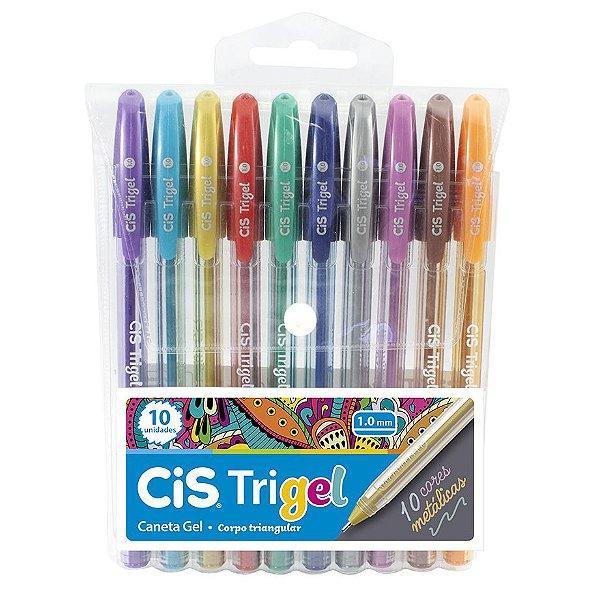 Caneta Cis Trigel Estojo com 10 cores Metálicas