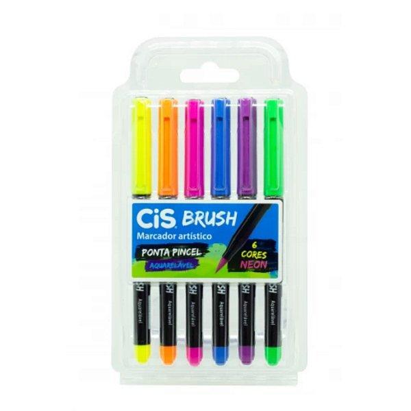 Caneta Cis Brush Aquarelável Estojo com 6 cores Neon