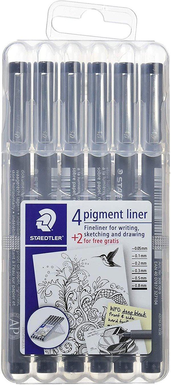 Caneta Staedtler Fineliner Pigment Liner 6 unidades