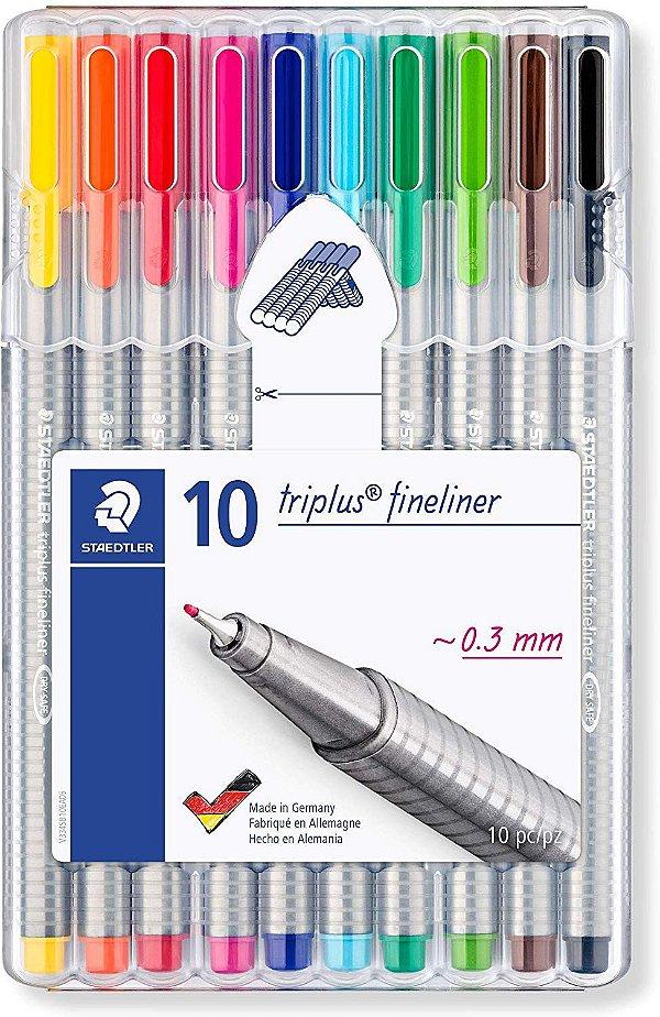 Caneta Triplus Fineliner 0.3mm Staedtler 10 cores