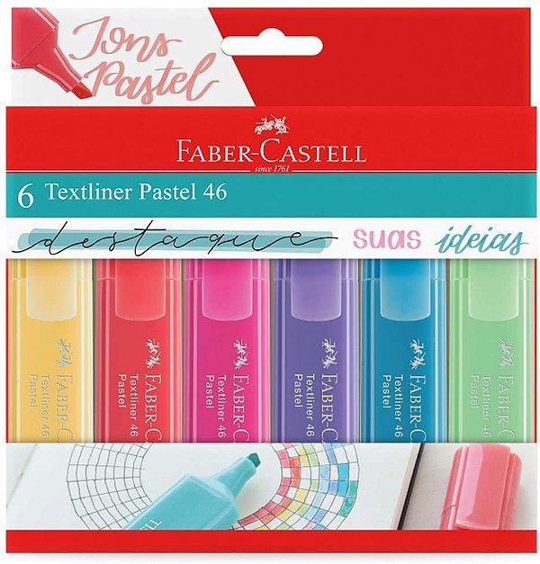 Marca Texto Texliner Pastel 46 Faber Castell Estojo c/ 6