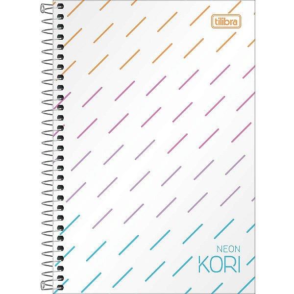Caderno Espiral Capa Plástica 1/4 sem Pauta Neon Kori 80 Folhas