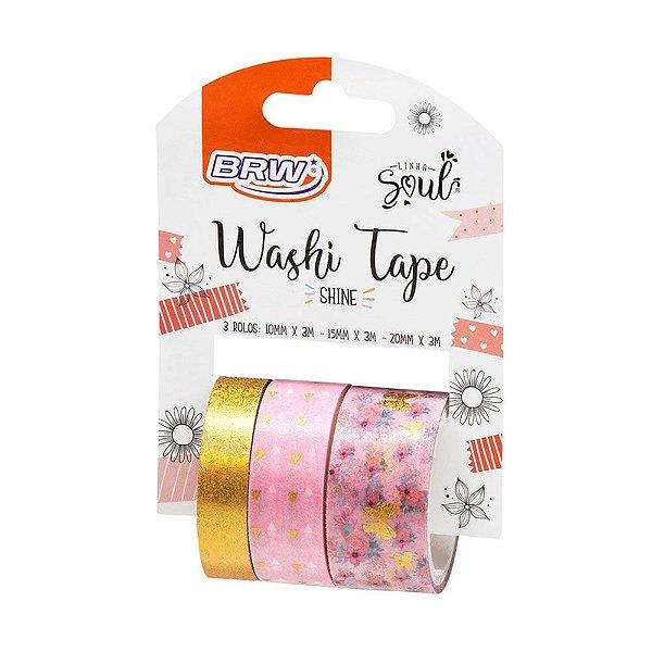 Fita Adesiva Washi Tape Brw Shine Rosa