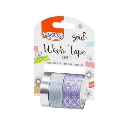 Fita Adesiva Washi Tape Brw Shine Lílas c/3
