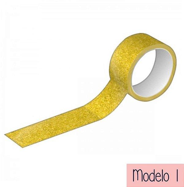 Fita Adesiva Washi Tape Tilibra - Glitter e Metalizada