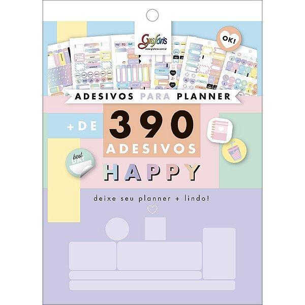 Bloco de Adesivos Decorados para Planners Happy 12 Folhas