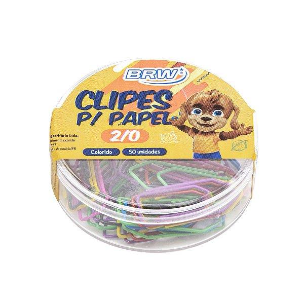 Clipes para Papel Brw 2/0 -Colorido