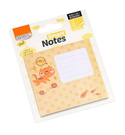 Bloco Smart Notes Brw Frame 3em1 90x90mm - Gato