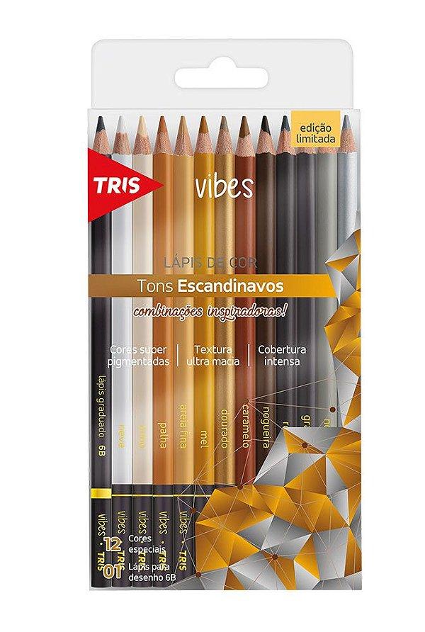 Lápis de Cor 12 Cores Vibes - Tons Escandinavos TRIS