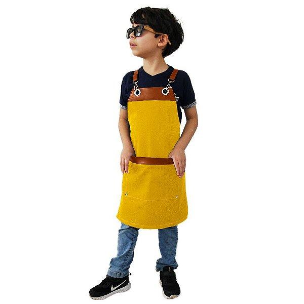 Avental em Sarja amarelo modelo Onza infantil