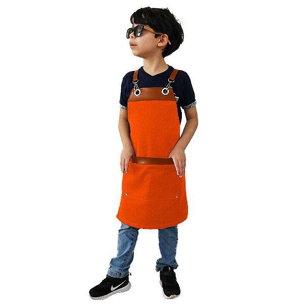 Avental em Sarja laranja modelo Onza infantil