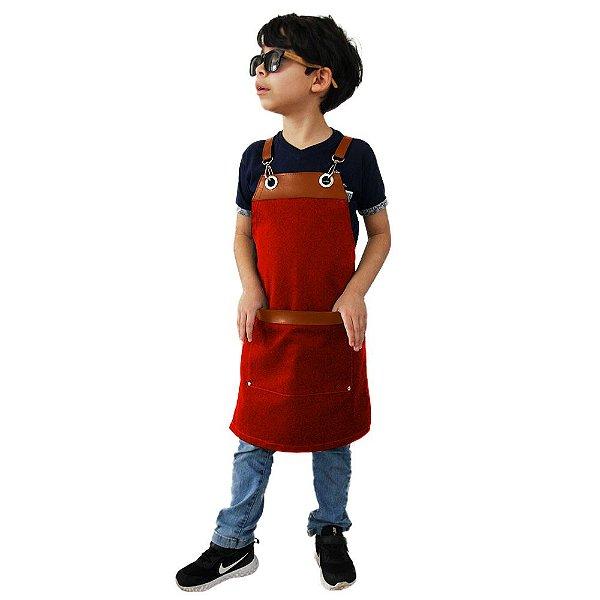 Avental em Sarja vermelho modelo Onza infantil