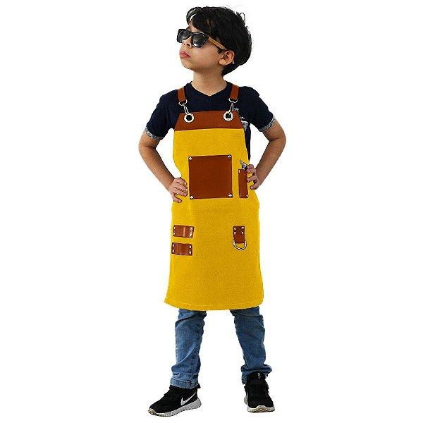 Avental em Sarja amarelo modelo Churrasqueiro infantil