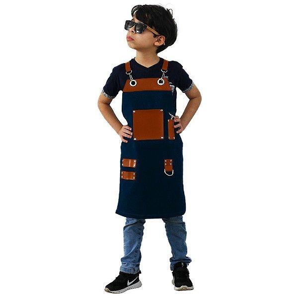 Avental em Sarja azul modelo Churrasqueiro infantil
