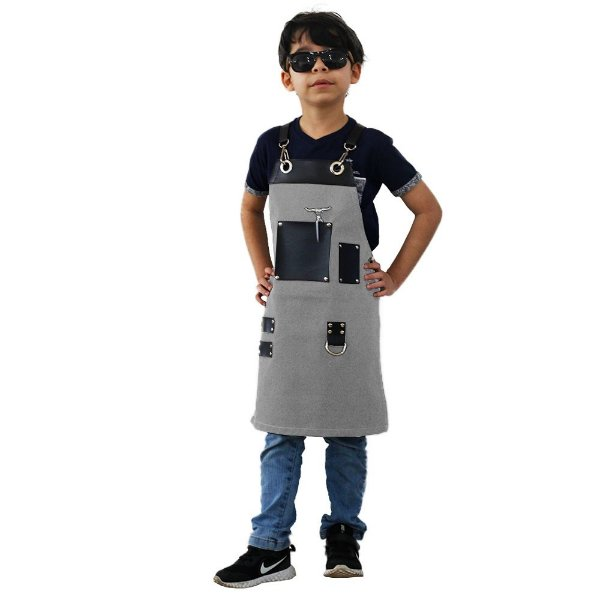 Avental em Sarja cinza modelo Churrasqueiro infantil