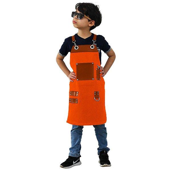 Avental em Sarja laranja modelo Churrasqueiro infantil