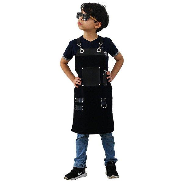 Avental em Sarja preto modelo Churrasqueiro infantil