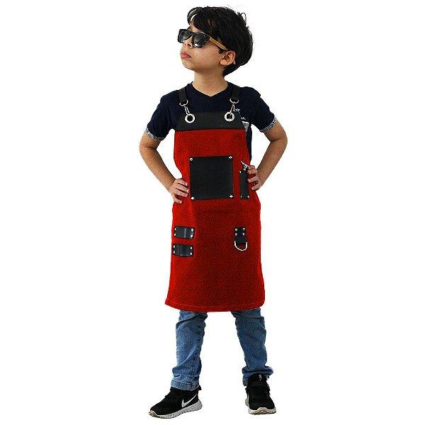 Avental em Sarja vermelho modelo Churrasqueiro infantil