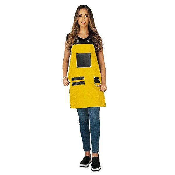 Avental em Sarja amarelo modelo Churrasqueiro feminino