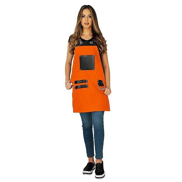 Avental em Sarja laranja modelo Churrasqueiro feminino
