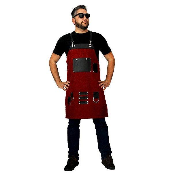 Avental em sarja modelo levoke vermelho