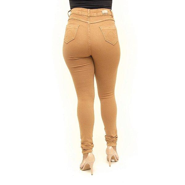Calça Jeans Feminina Cintura Alta Hot Pants Caramelo Credencial