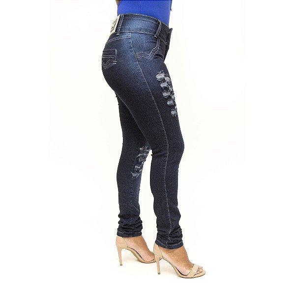 Calça Jeans Feminina Rasgadinha Azul Thomix Levanta Bumbum