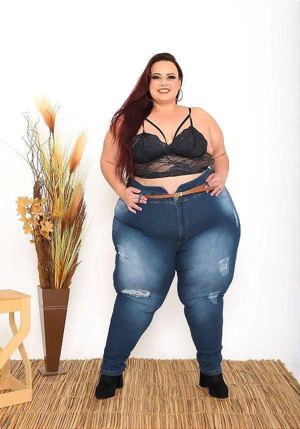 Calça Jeans Helix Plus Size Clochard Cicelline Azul