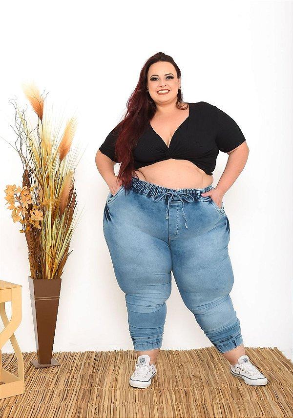 Calça Jeans Helix Plus Size Jogger Fieline Azul