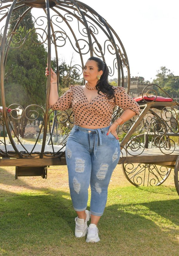 Calça Jeans Ane Plus Size Capri Eduarda Azul