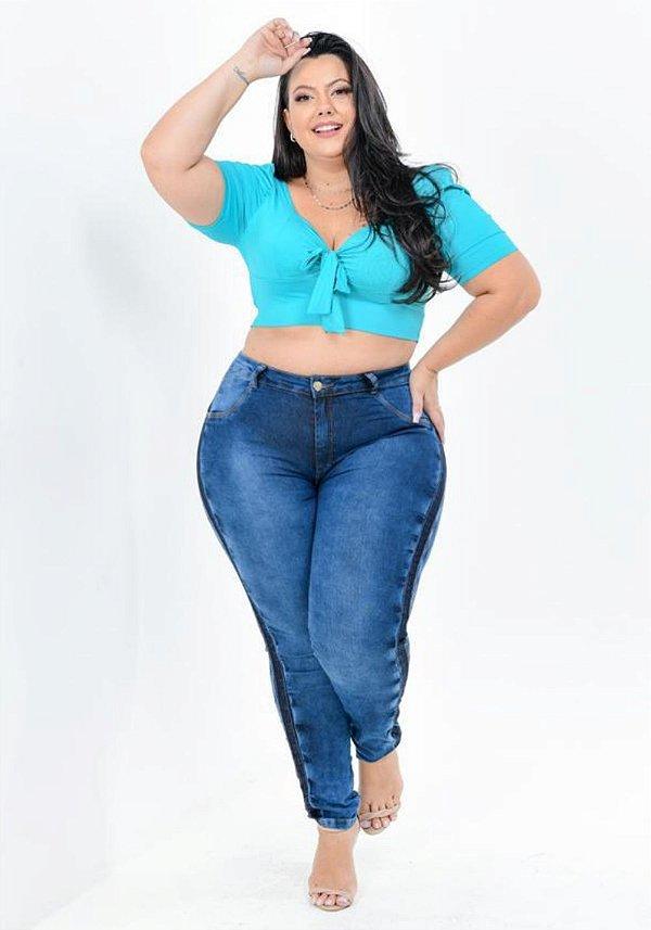 Calça Jeans Latitude Plus Size Skinny Seleny Azul