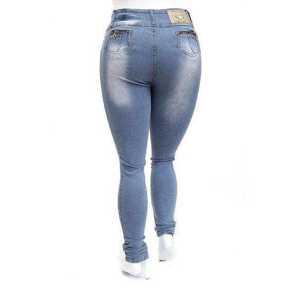 Calça Feminina Jeans Plus Size Credencial com Lavagem Clara