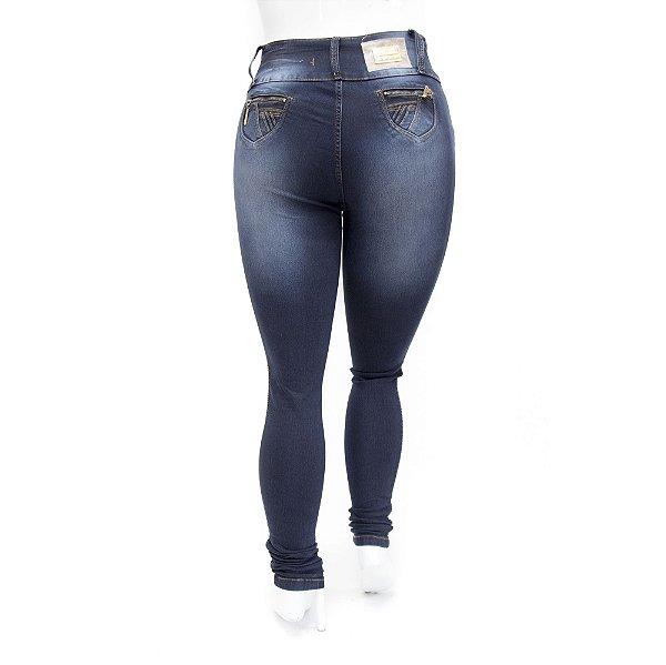 Calça Jeans Feminina Plus Size Escura Levanta Bumbum Credencial