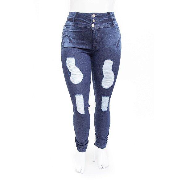 Calça Jeans Plus Size Feminina Rasgada Cheris