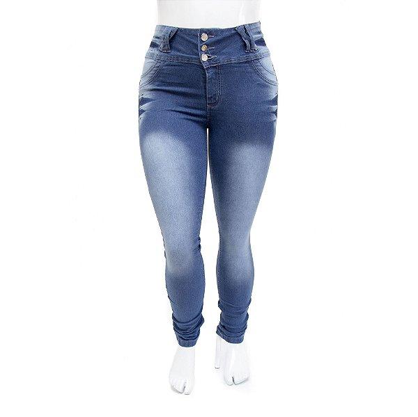 Calça Jeans Plus Size Feminina Azul Manchada Cheris