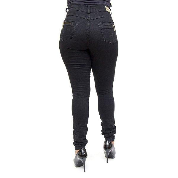 Calça Jeans Preta Feminina Hot Pants Helix Levanta Bumbum