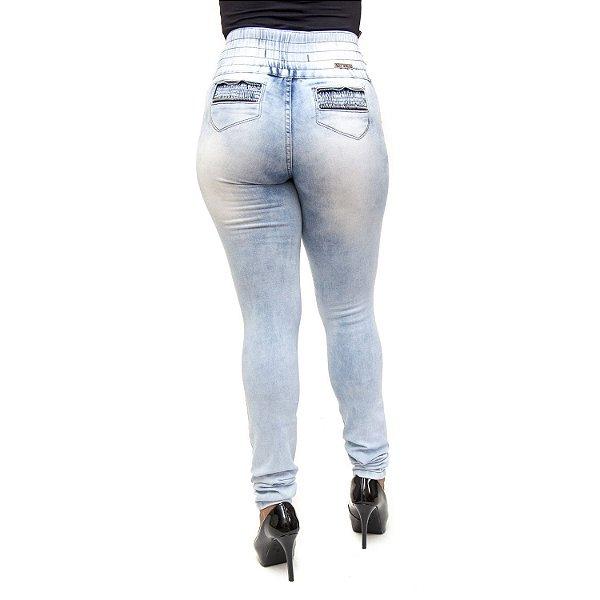 Calça Jeans Feminina Manchada com Elástico na Cintura Helix