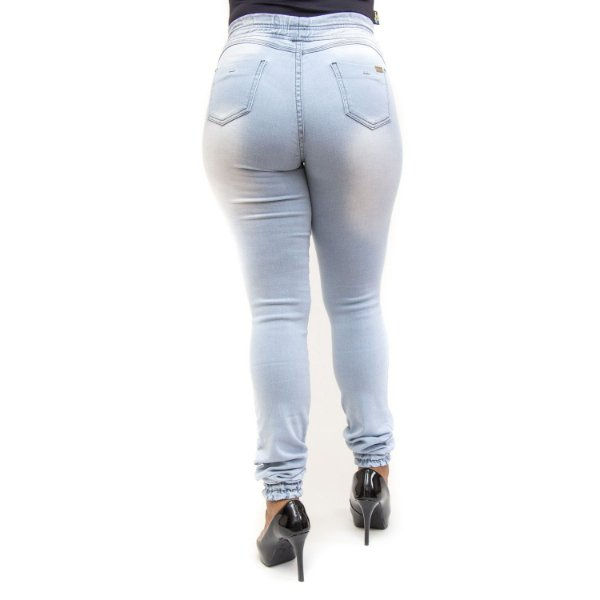 Calça Jeans Feminina Clara com Elástico no Tornozelo Helix