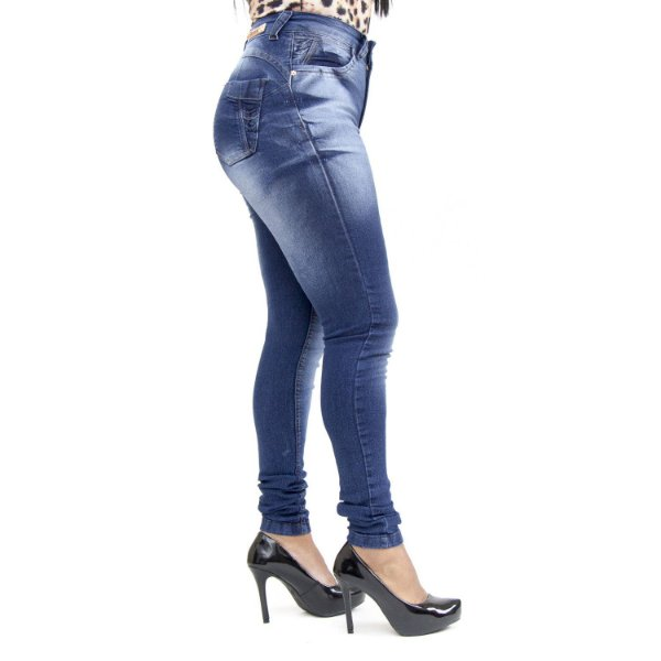 Calça Jeans Feminina Hot Pants Azul Manchada Thomix