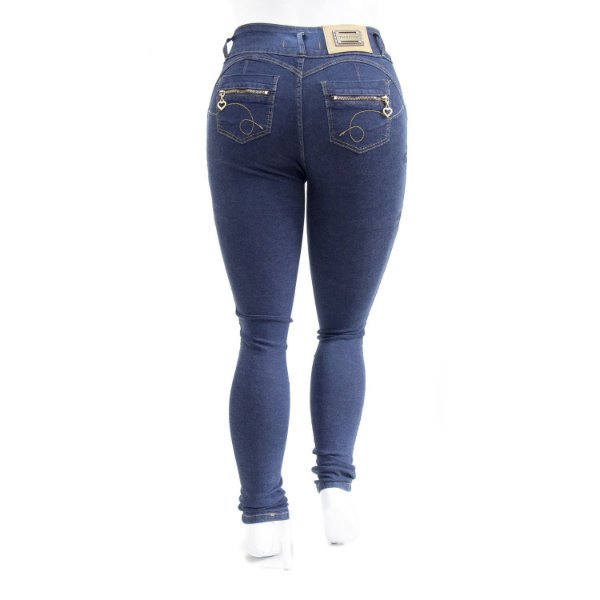 Calça Plus Size Jeans Feminina Escura Cintura Alta Thomix