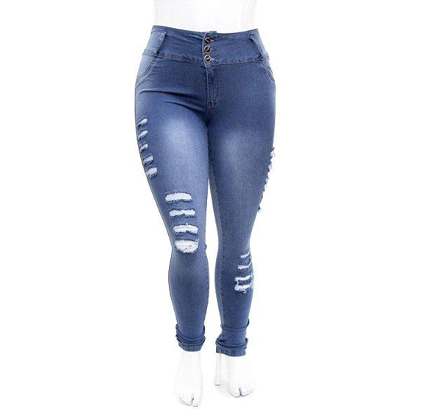 Calça Jeans Plus Size Azul Rasgadinha Cintura Alta Thomix